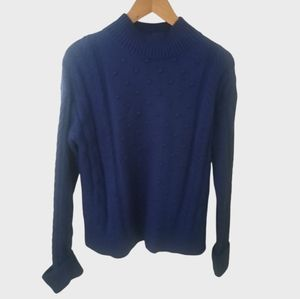 1. State Luxury Cotton Turtleneck Sweater Pom Pom Cable Knit Small Chunky Blue